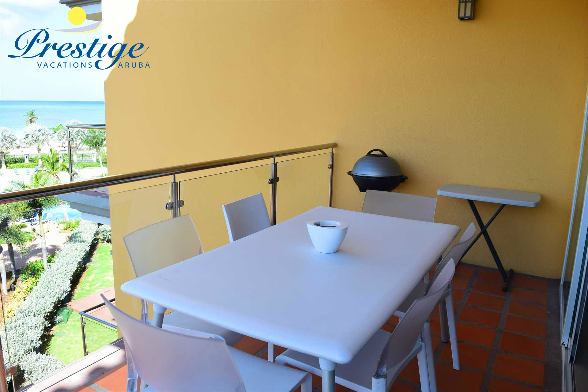 Your balcony with a 6-seat dining table