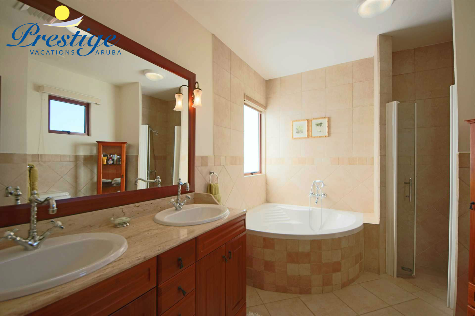 The master en-suite bathroom with a soaking tub and a separate shower