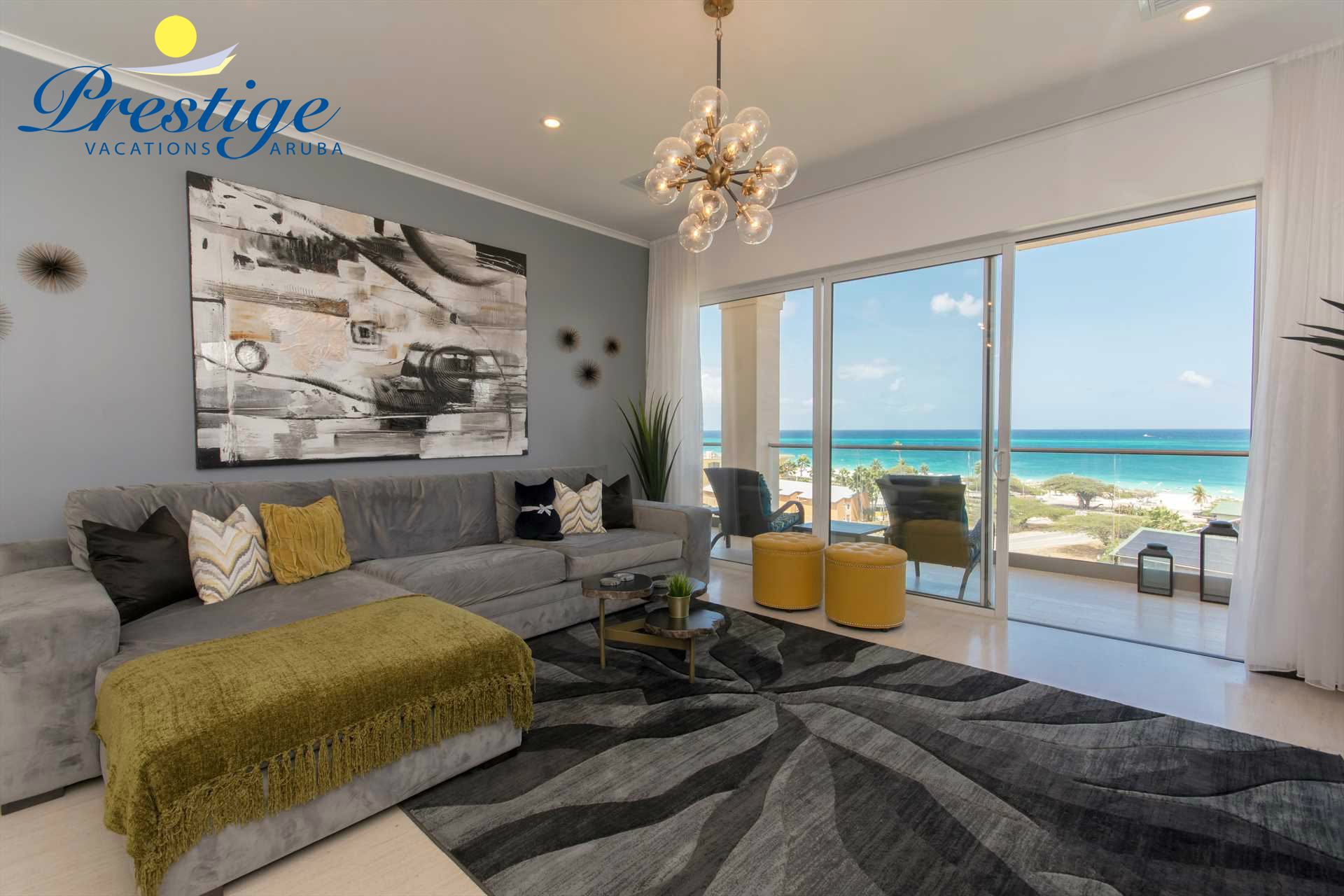 Enjoy the beach scenery from your living area