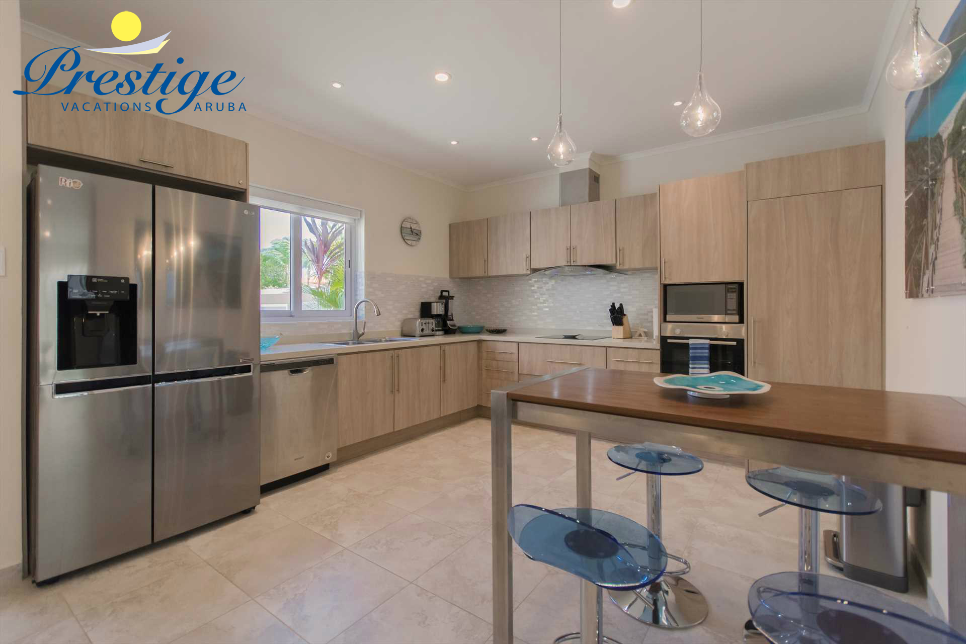 Your large fully equipped kitchen with a breakfast area plus in-room washer/dryer