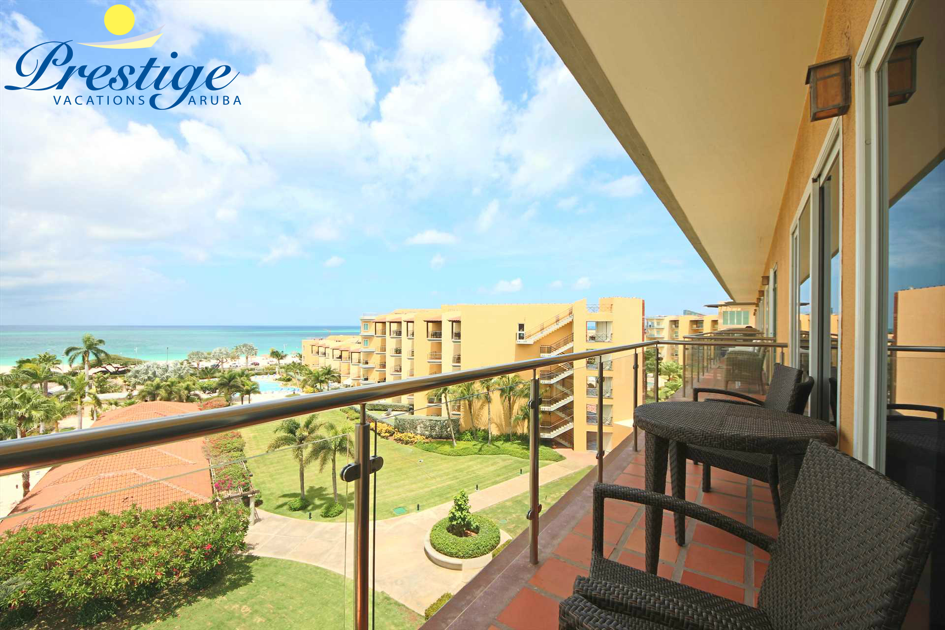 Your balcony with ocean and resort pool view