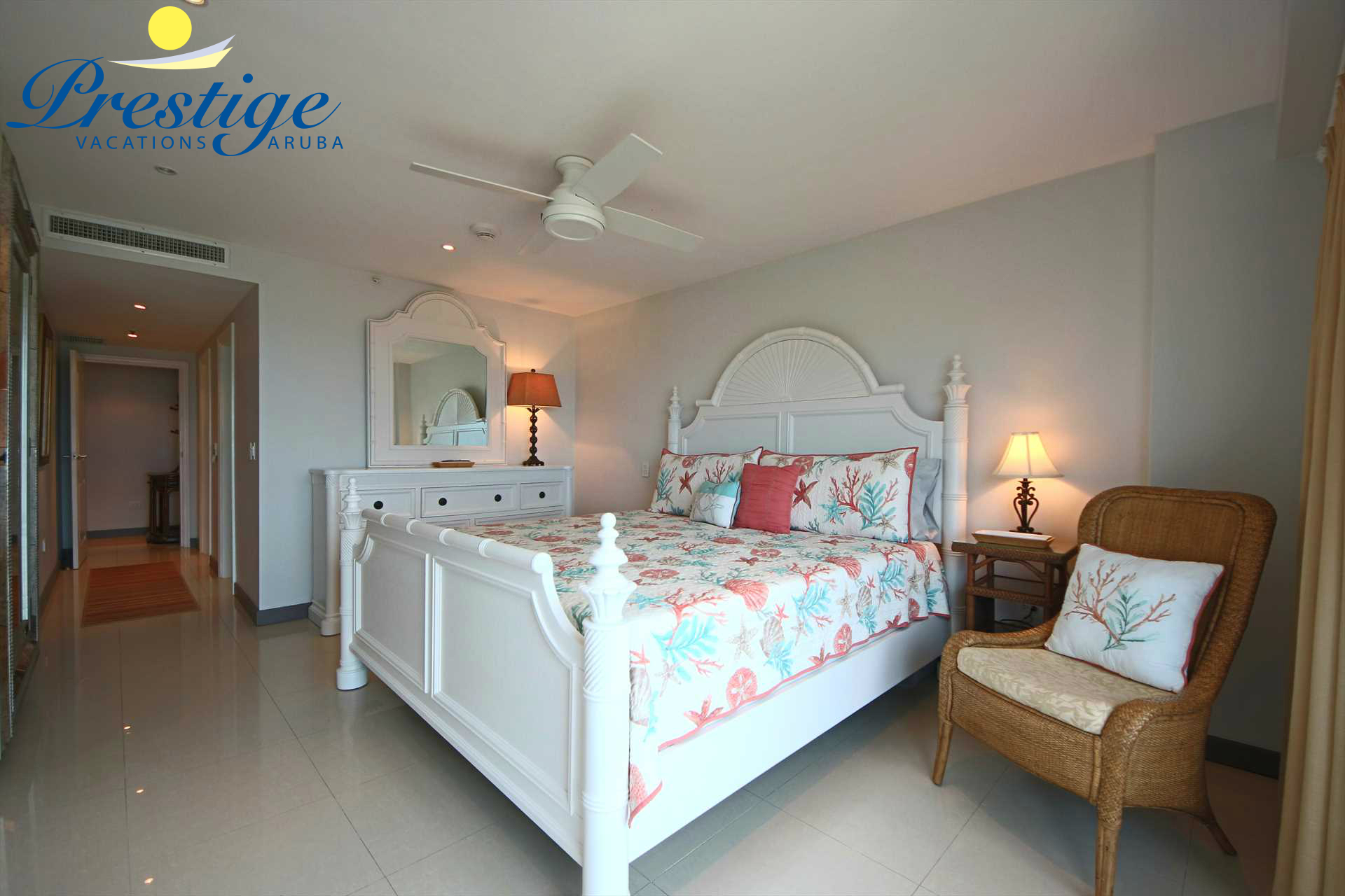 The master bedroom with king-size bed and stunning views