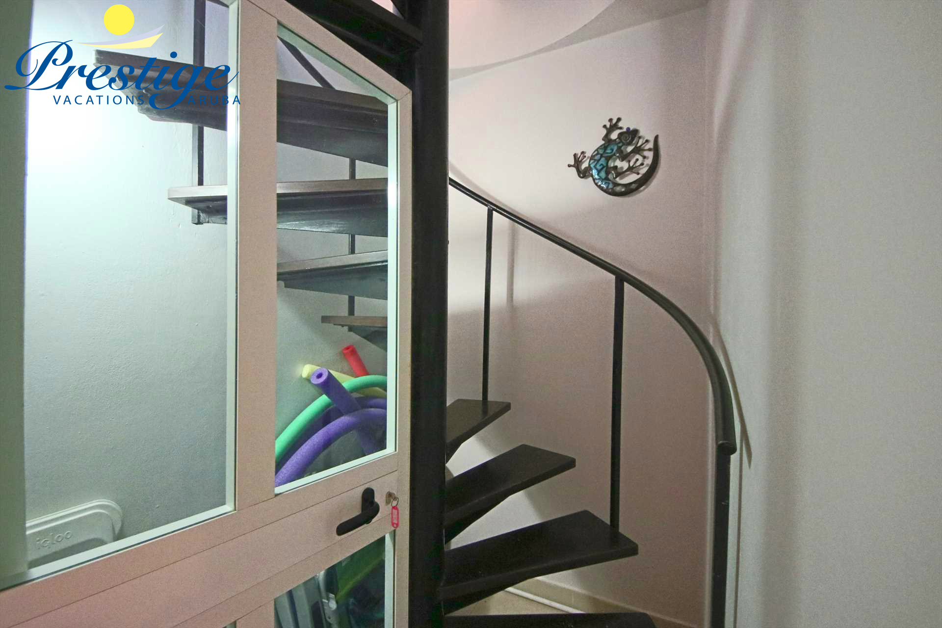 The spiral staircase to the private rooftop