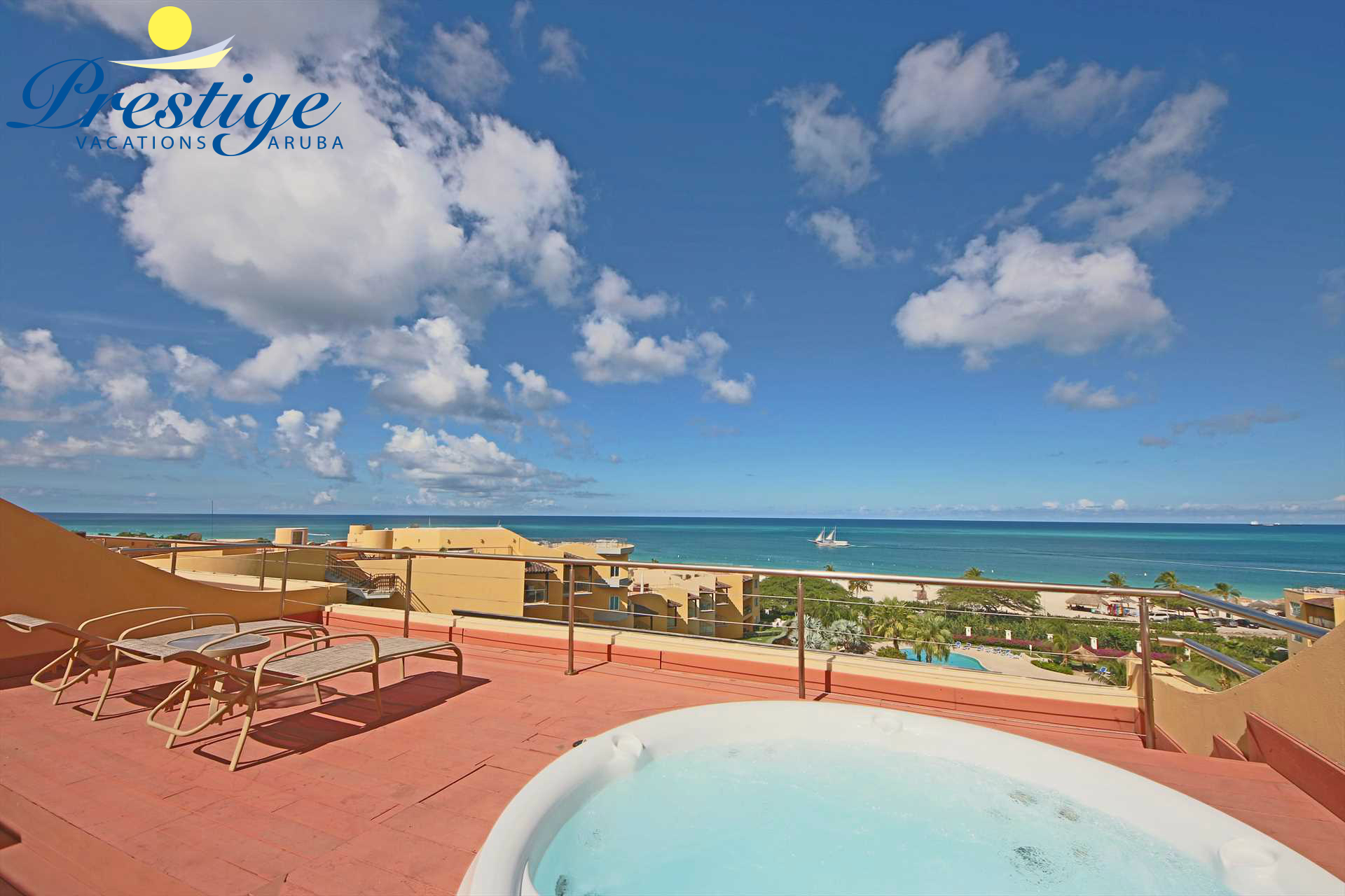 Hot Tub on your private rooftop with the best views of Eagle Beach