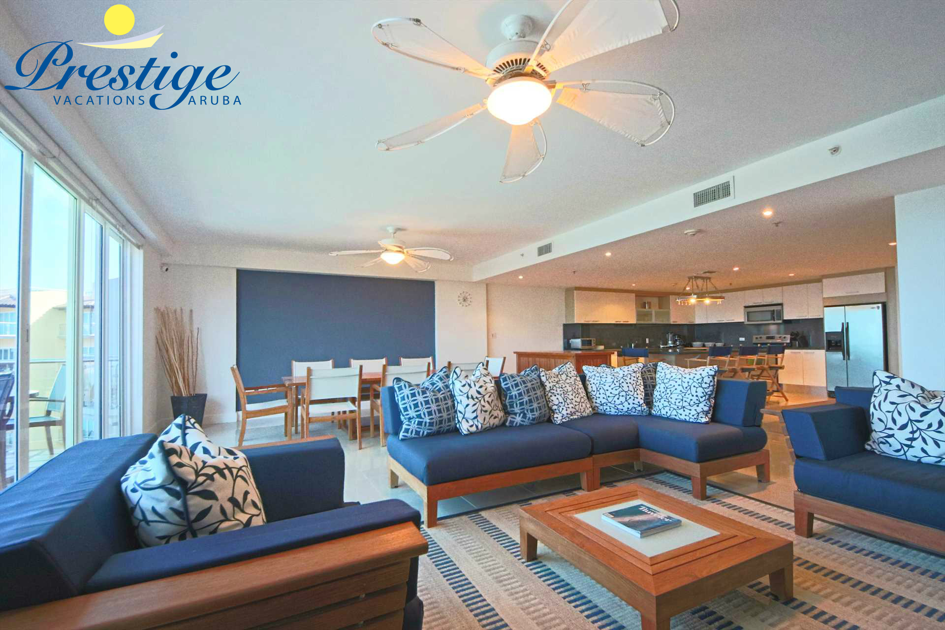 The spacious living area on the main floor of this 3-level vacation rental