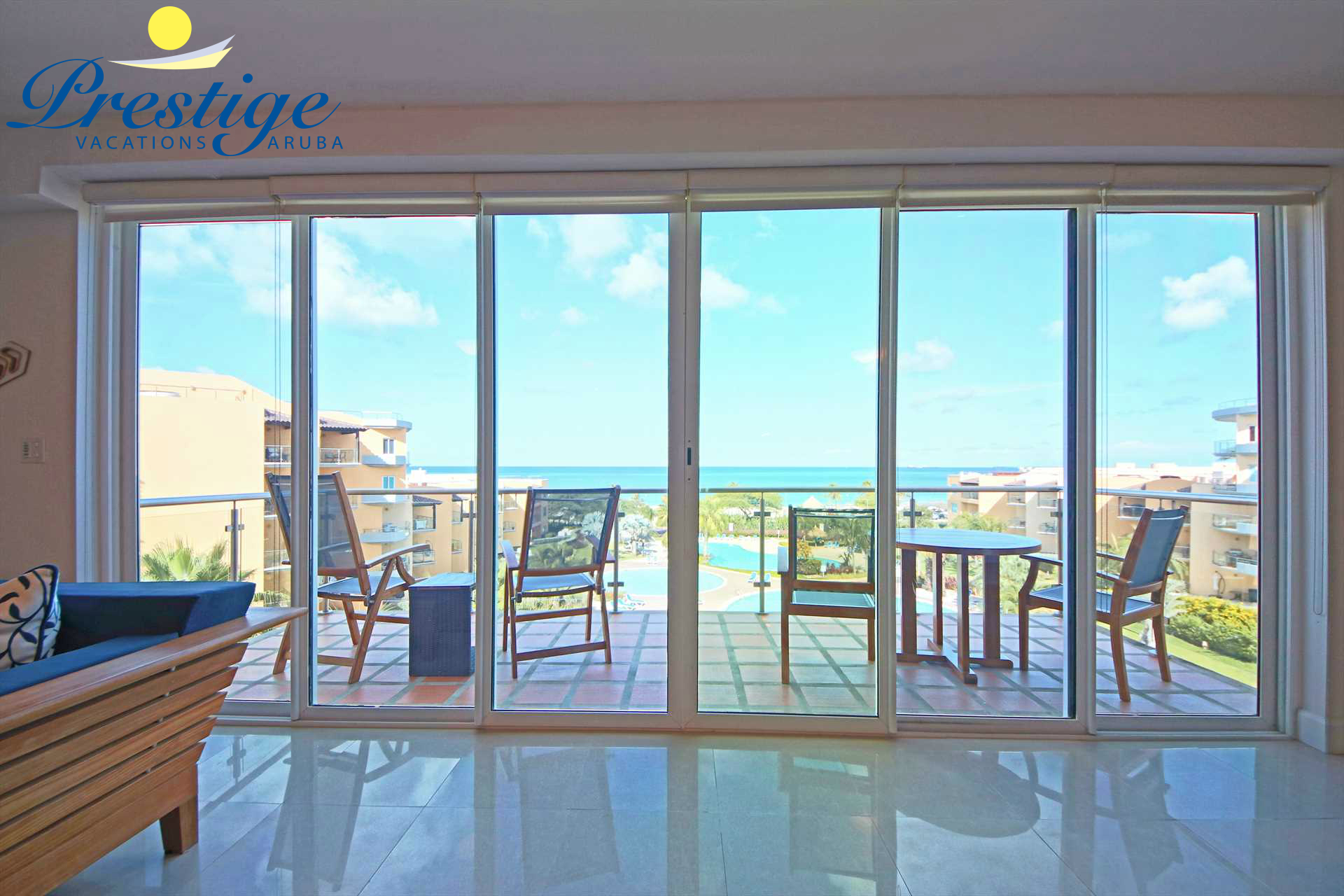 The stunning ocean views continue in the living area and the balcony
