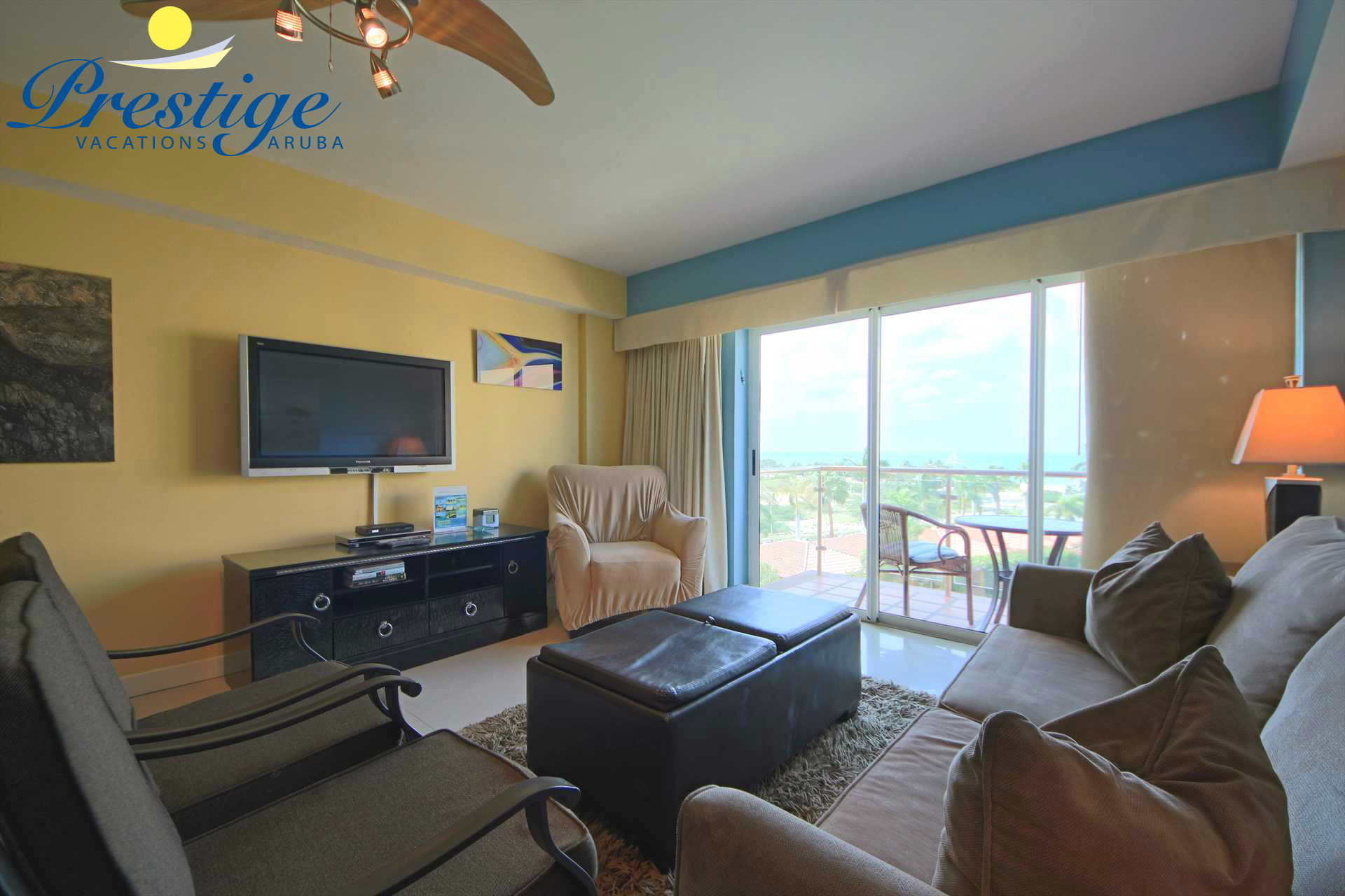 TV in living area with ocean view