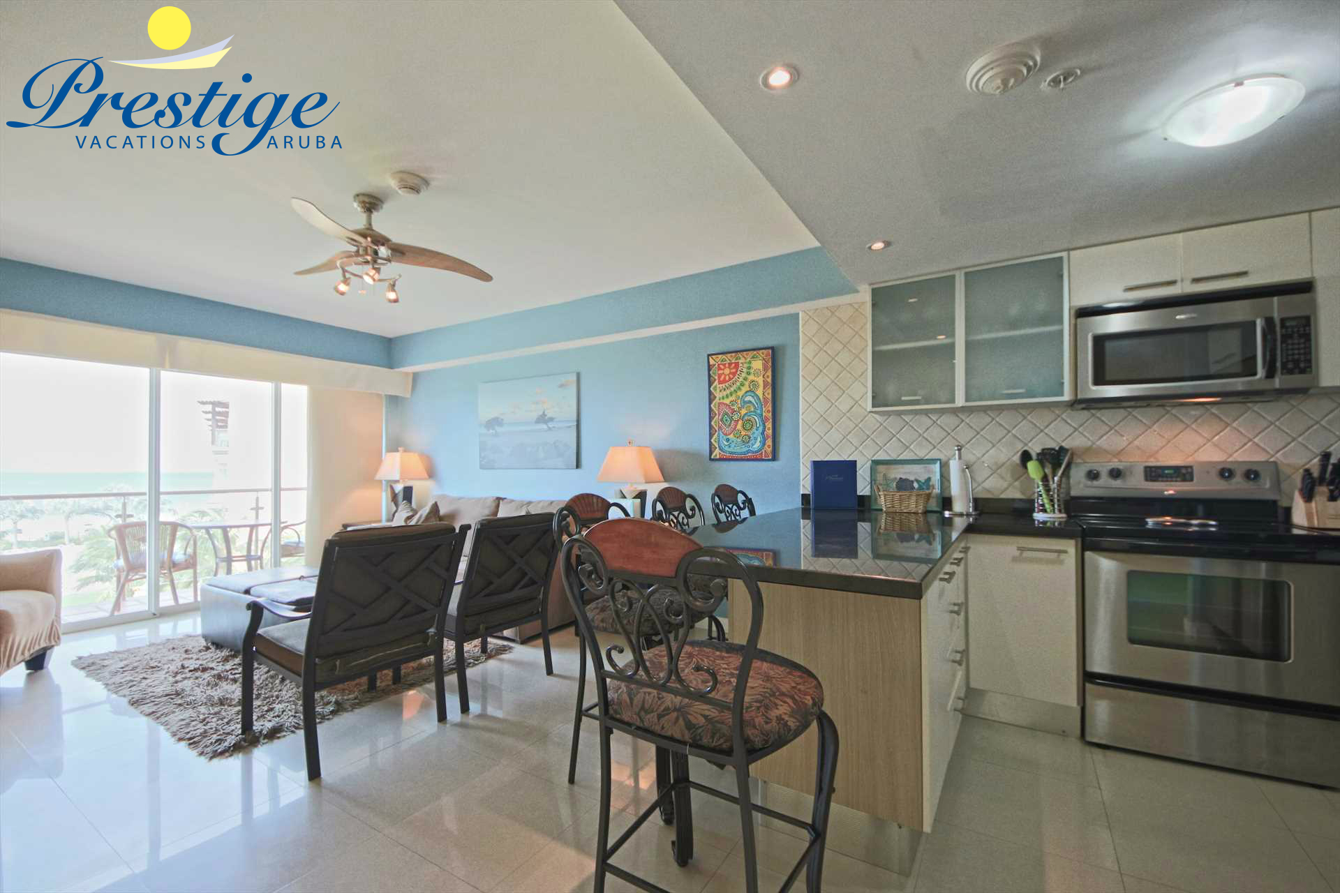 Your spacious living area with open kitchen