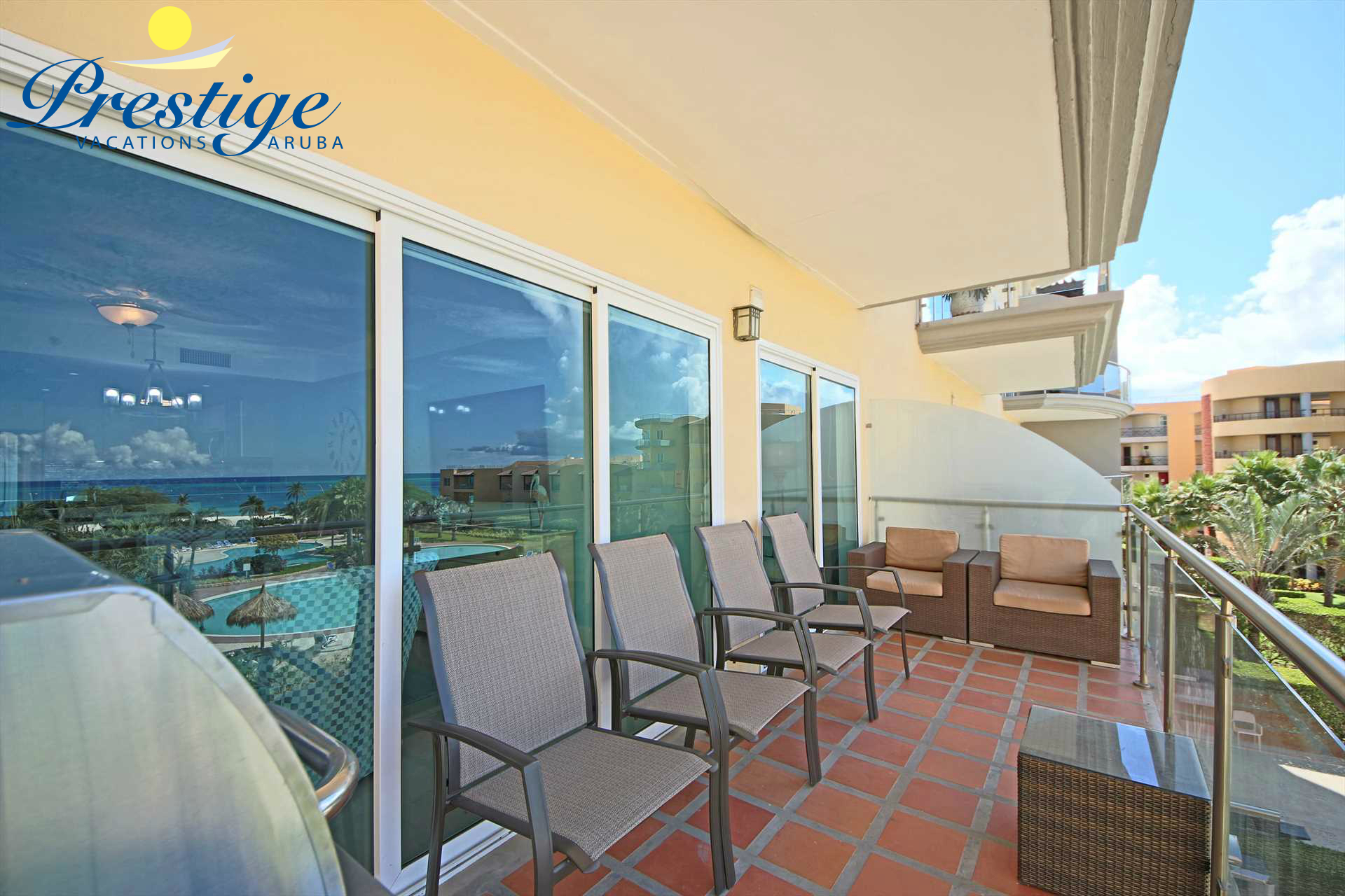 Relax and indulge in the mesmerizing views on your balcony with 6 armchairs