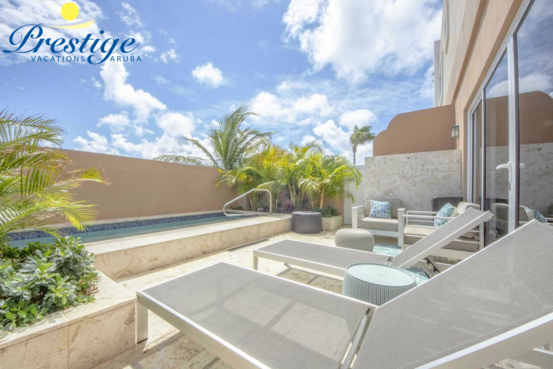 Your private back patio with a swimming pool