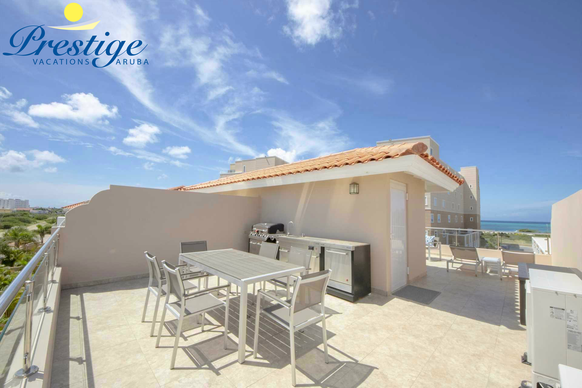 Your spacious private rooftop terrace with partial ocean view