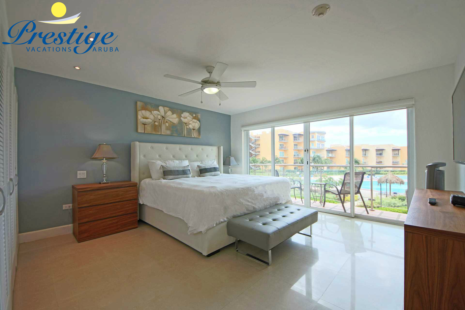 The master bedroom with a king-size bed