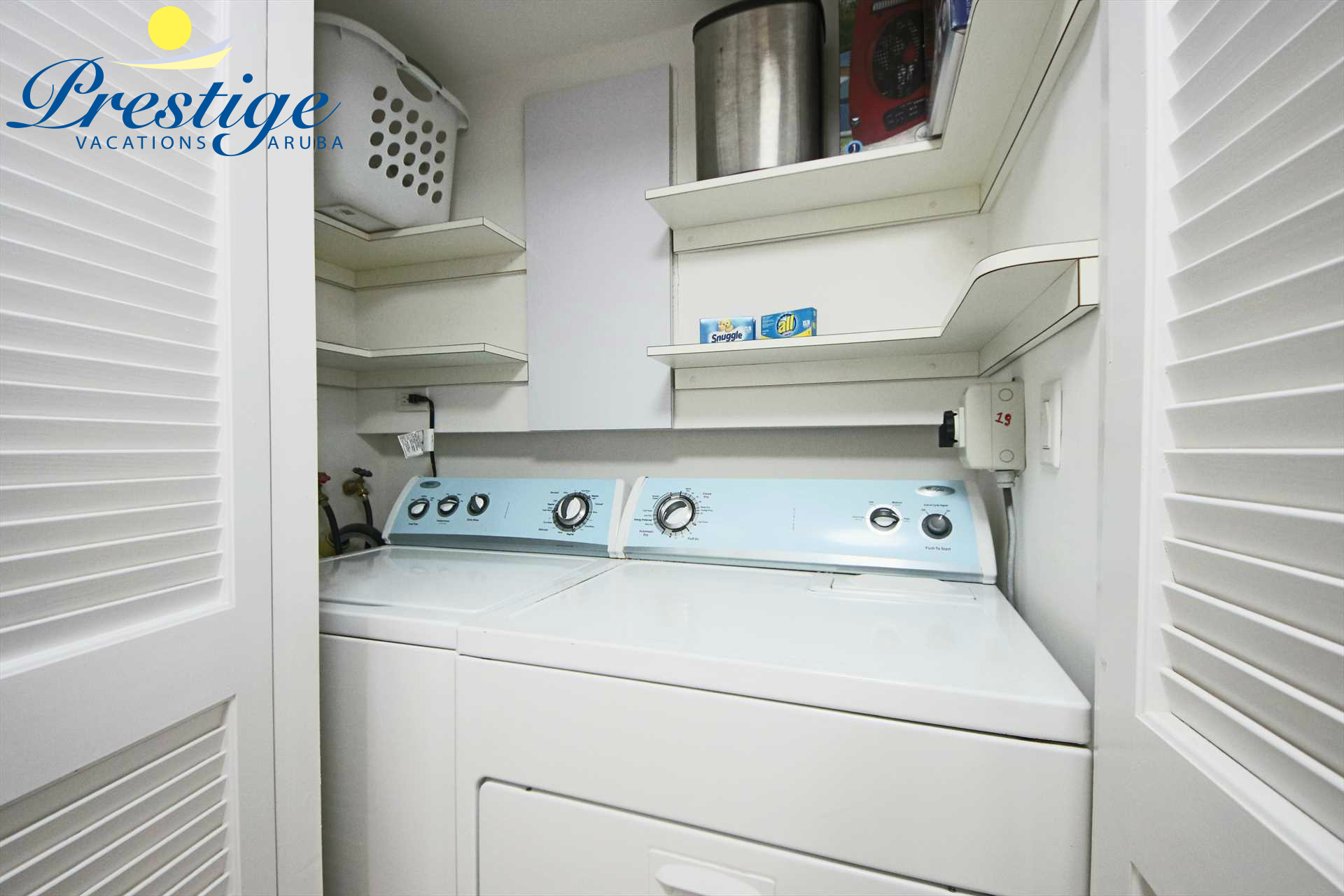 The laundry closet with washer/dryer