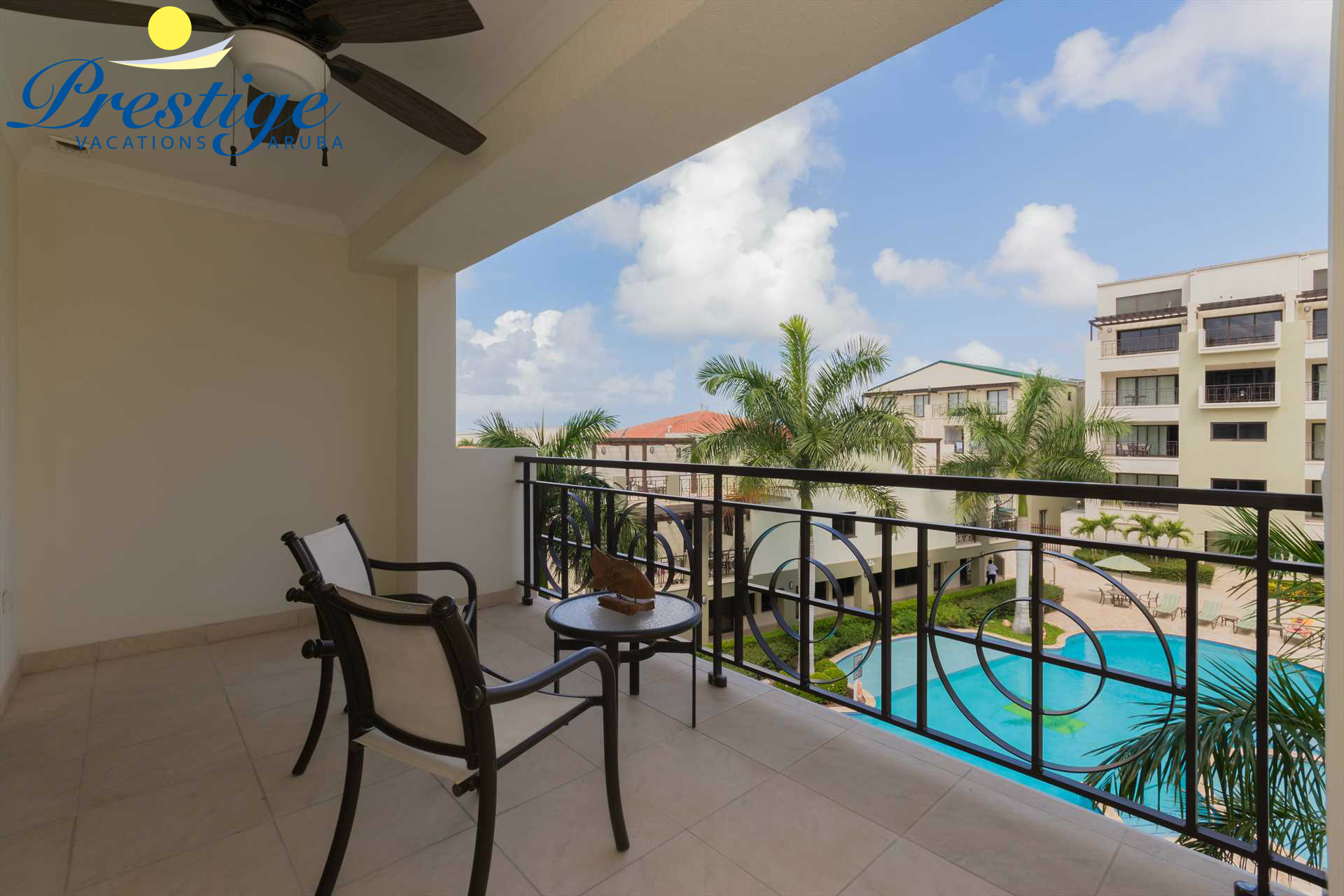 Relax anytime of the day on your spacious balcony and enjoy a nice view of the resort and pool