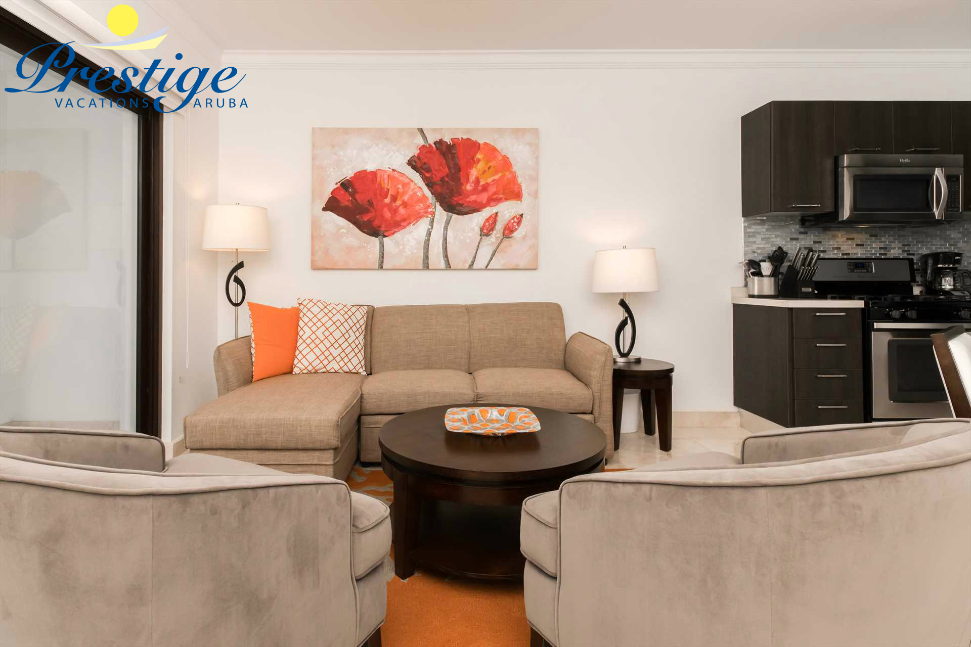 This cozy condo with vivid colors is the perfect setting for your next Aruba vacation