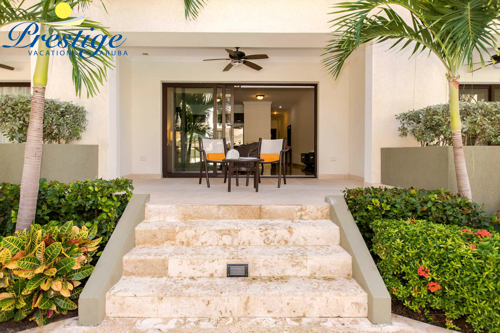 The stairs to your terrace just steps from the pool