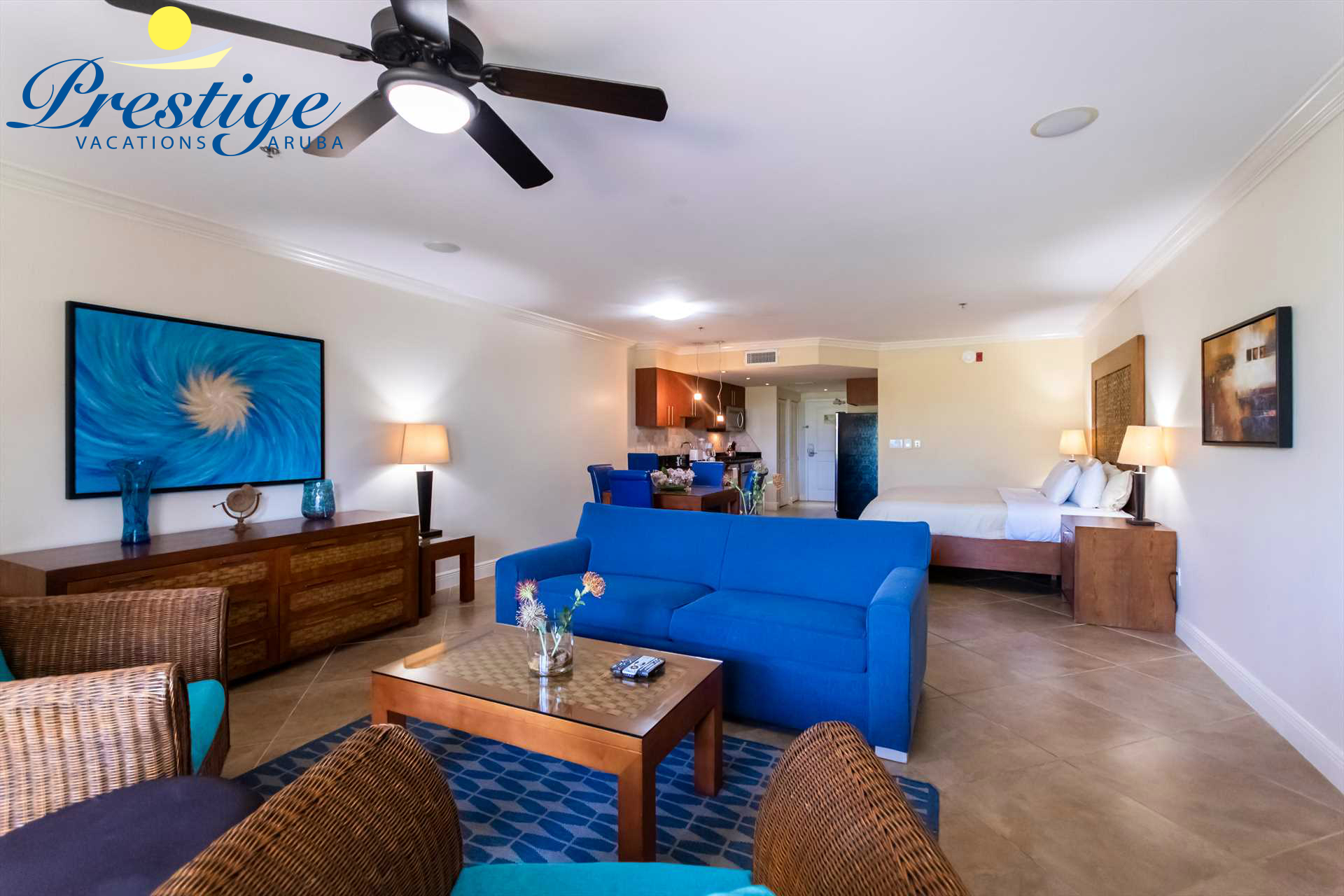 Full view of your vacation rental studio at the Divi resort with a sofa-bed (queen-size)