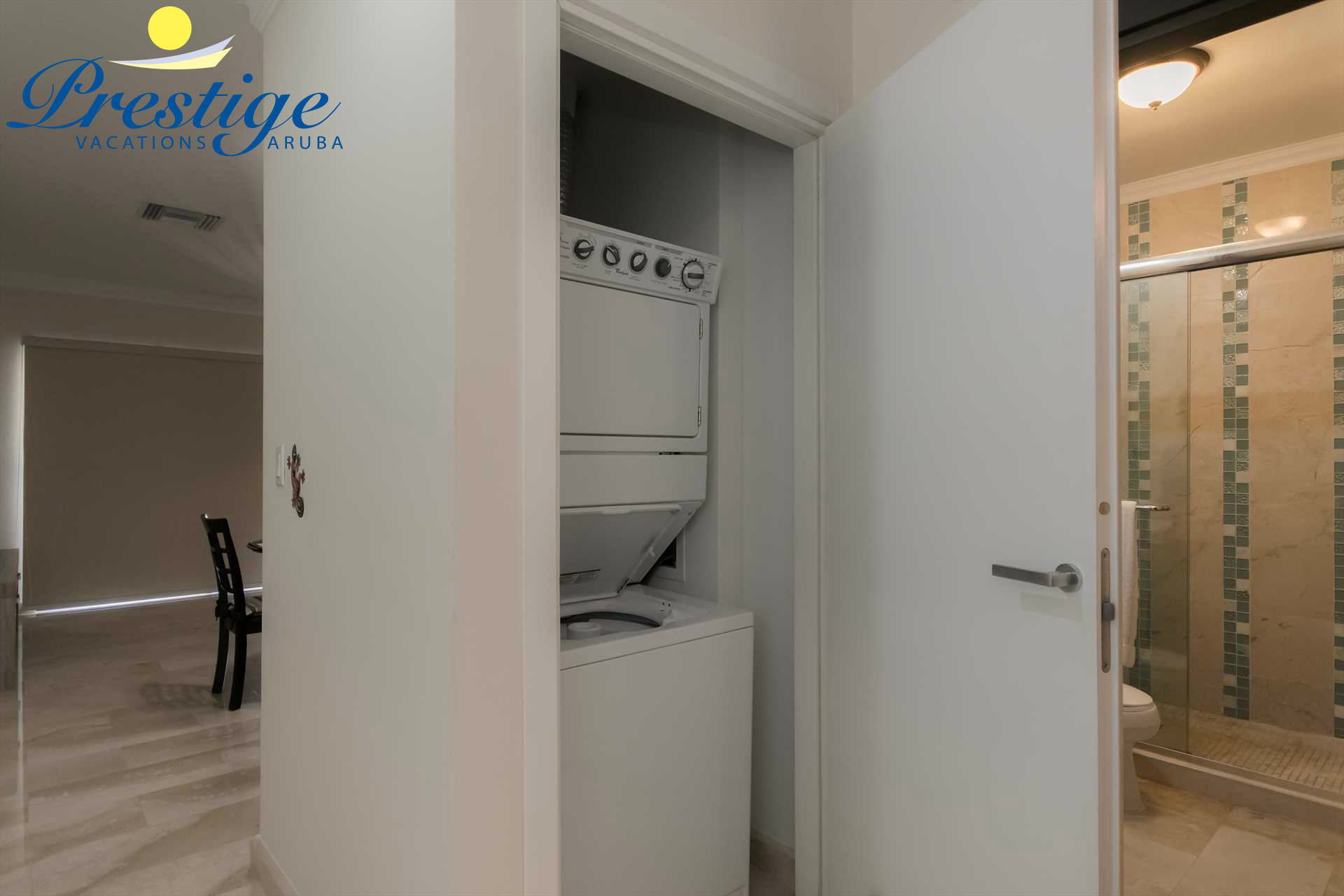 In-room washer and dryer available