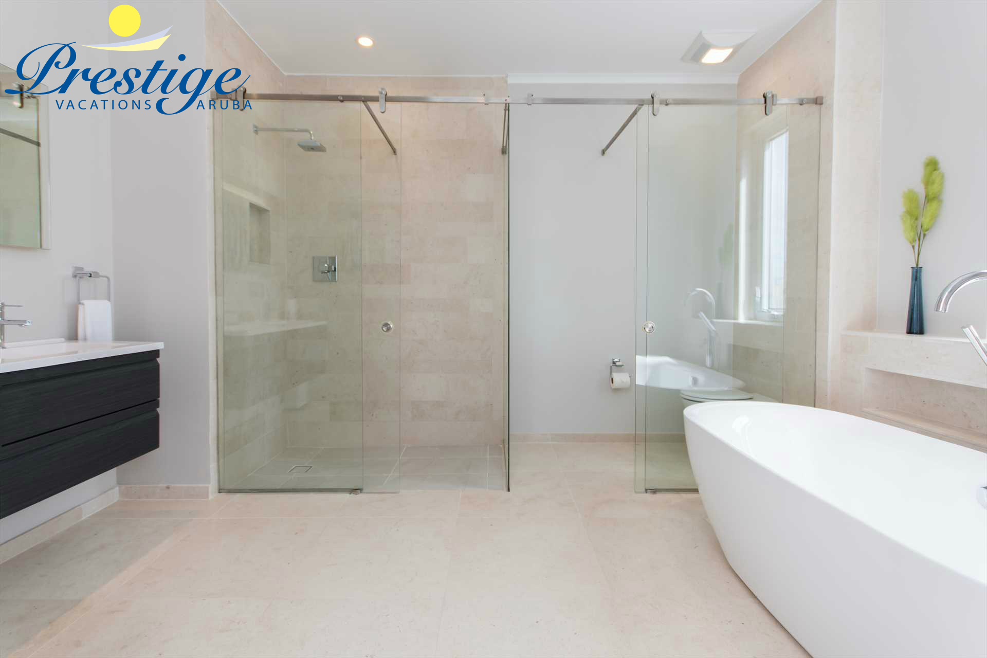 The master modern en-suite bathroom with glass-enclosed shower and toilet area