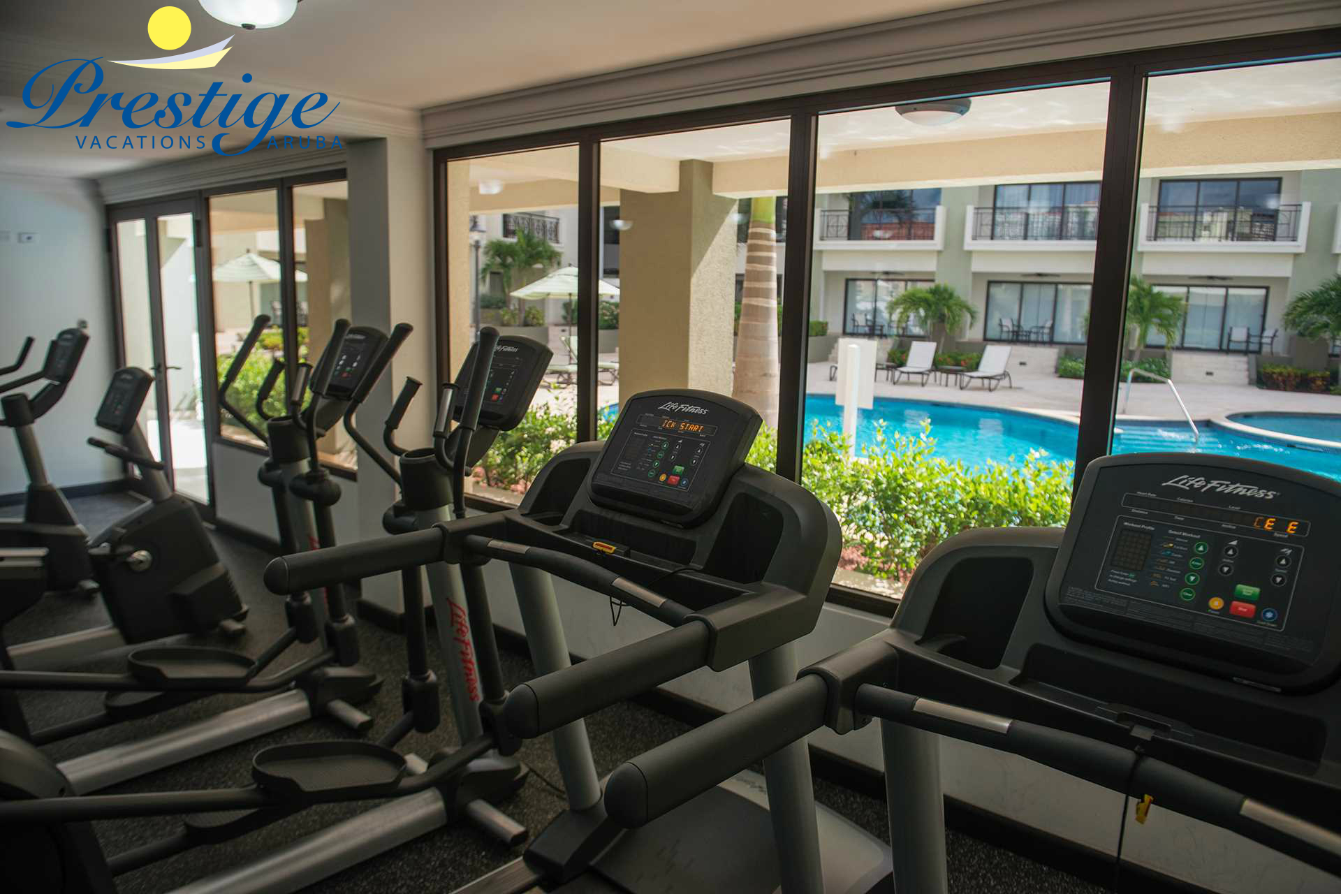 Fitness Center overlooking the pool area