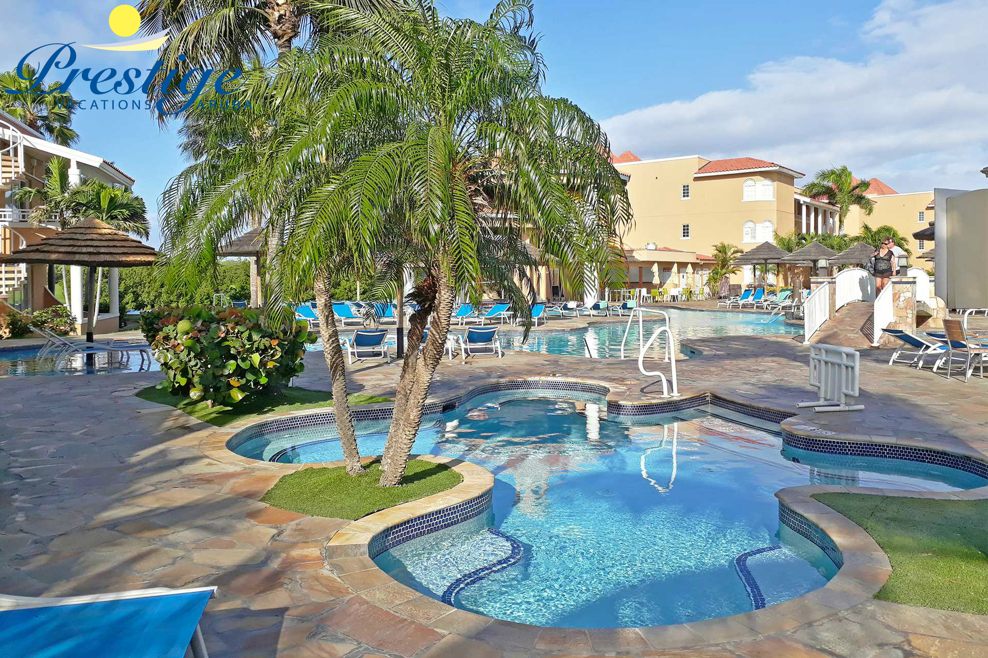 Divi resort main swimming pool area with large hot tub
