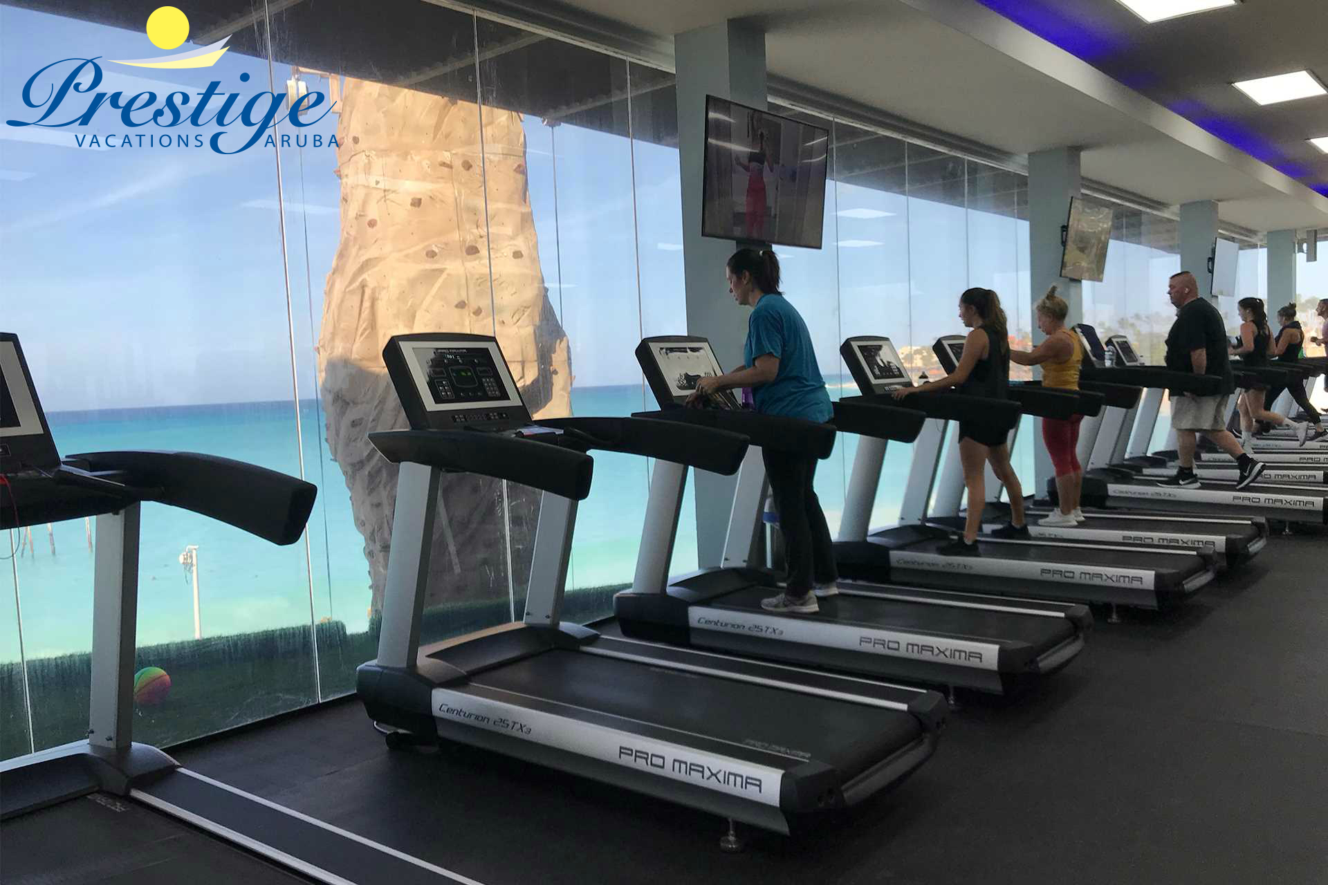 Divi's resort Fitness Center has stunning beach views