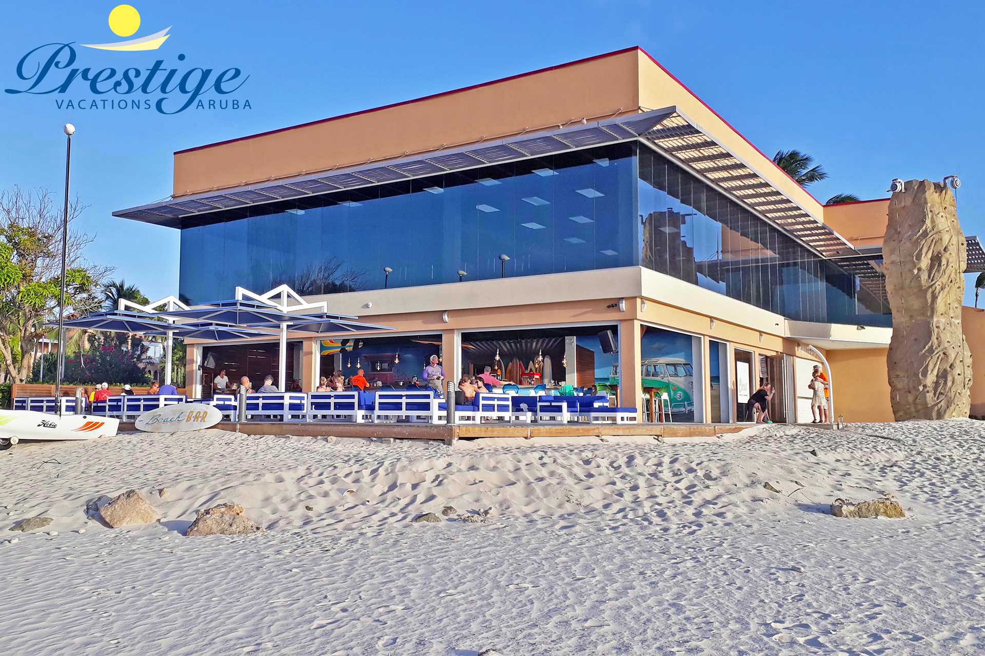 The lively beachside bar with stunning sunset views
