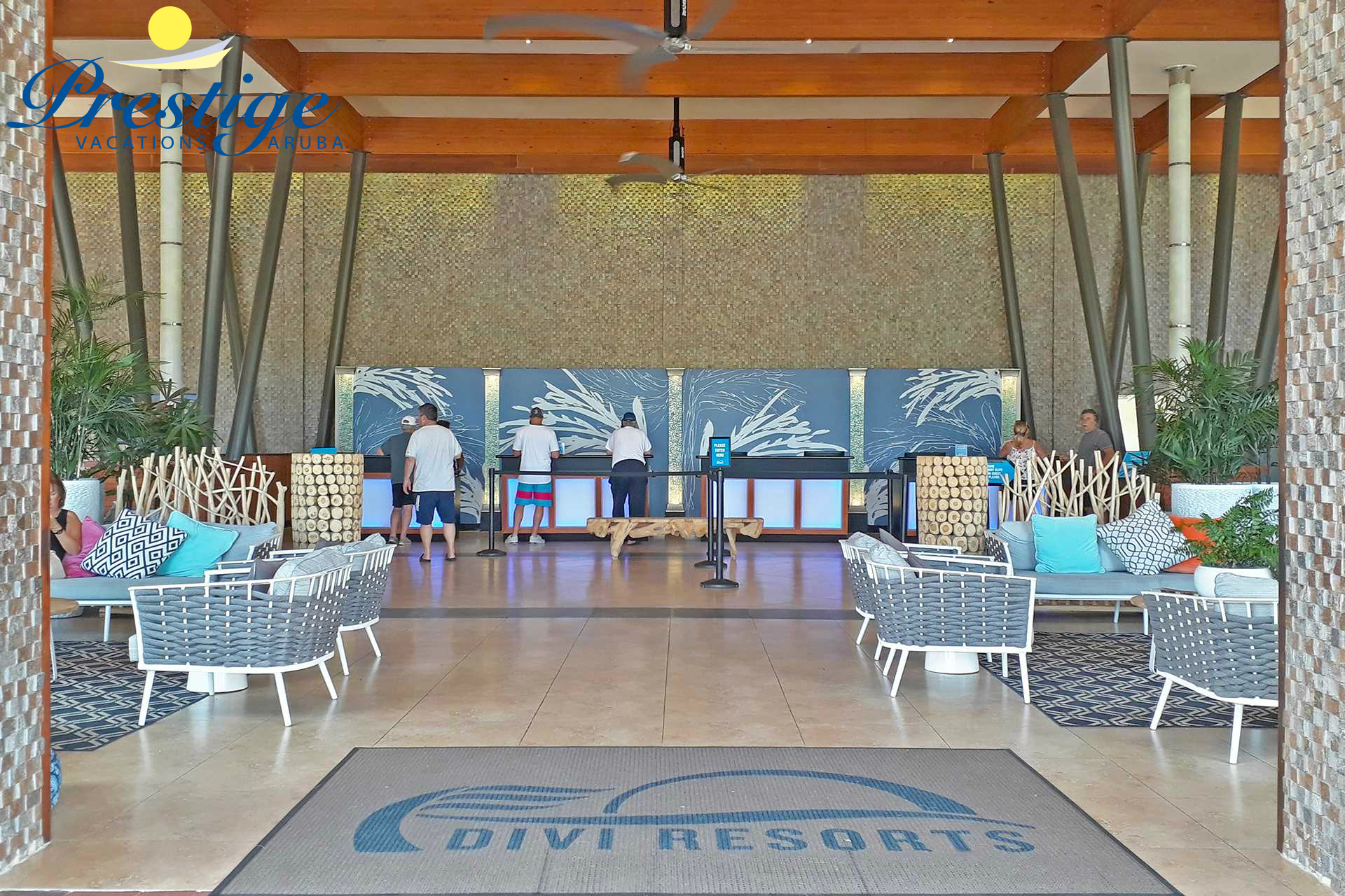 The lobby (front desk) of the Divi Village Golf & Beach Resort
