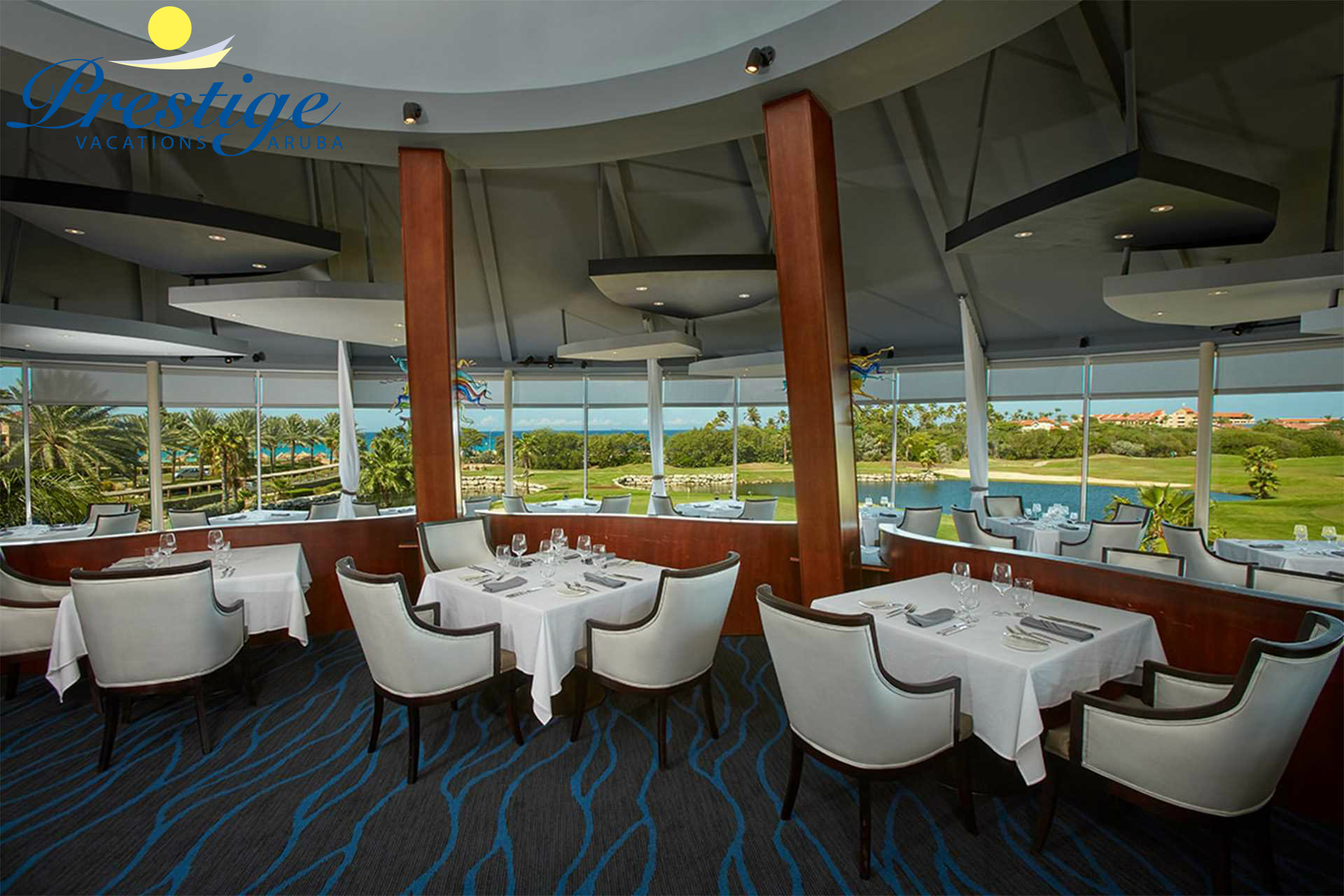 Windows on Aruba is an elegant restaurant located on the top floor of the Divi Golf Clubhouse
