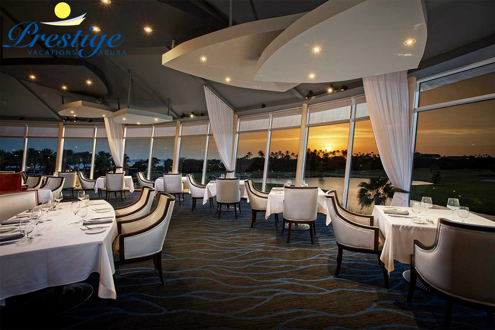 Windows on Aruba Restaurant with amazing sunset views, fine dining, and Sunday brunch