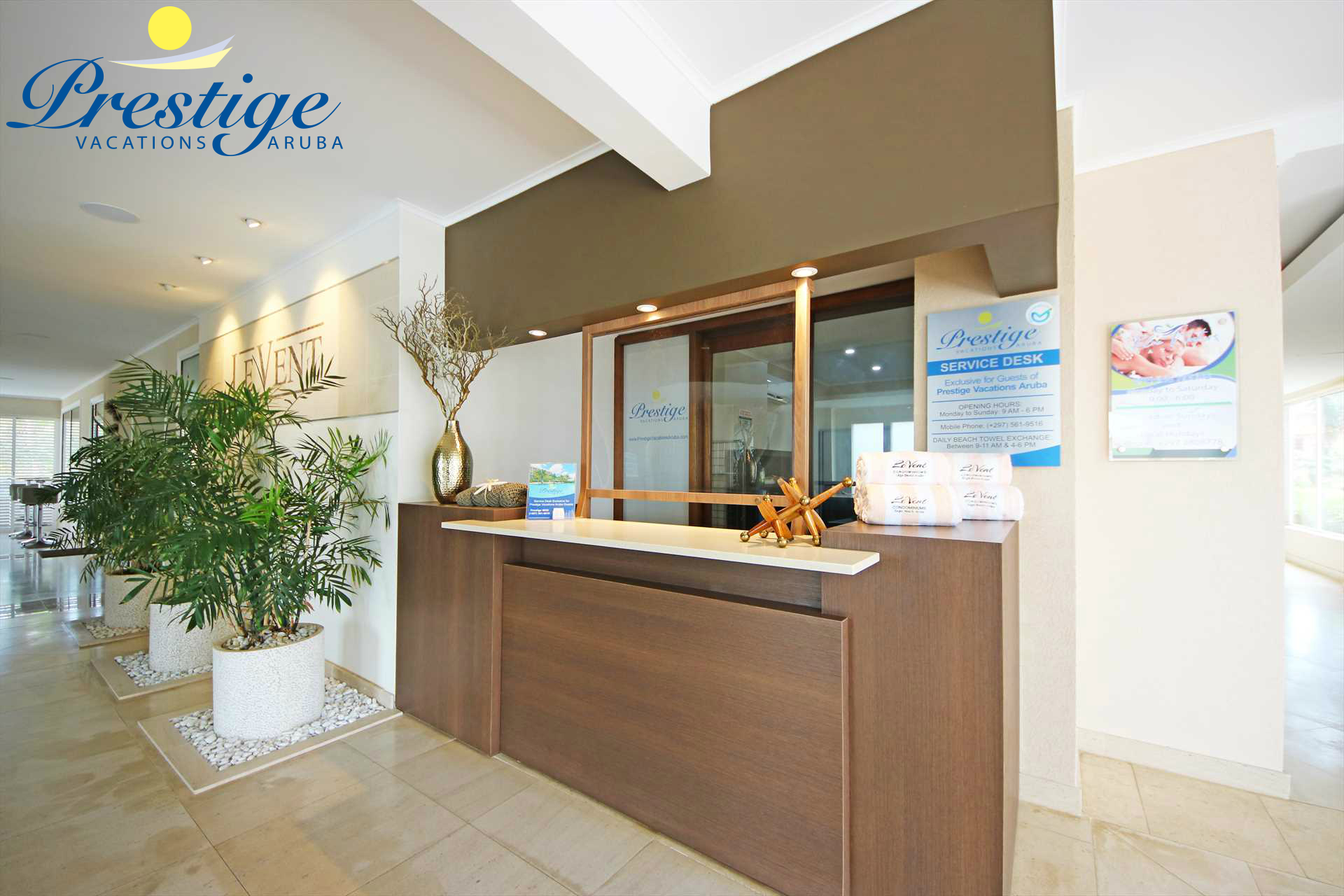 Prestige Vacations Aruba exclusive Service desk in the lobby of the LeVent Resort
