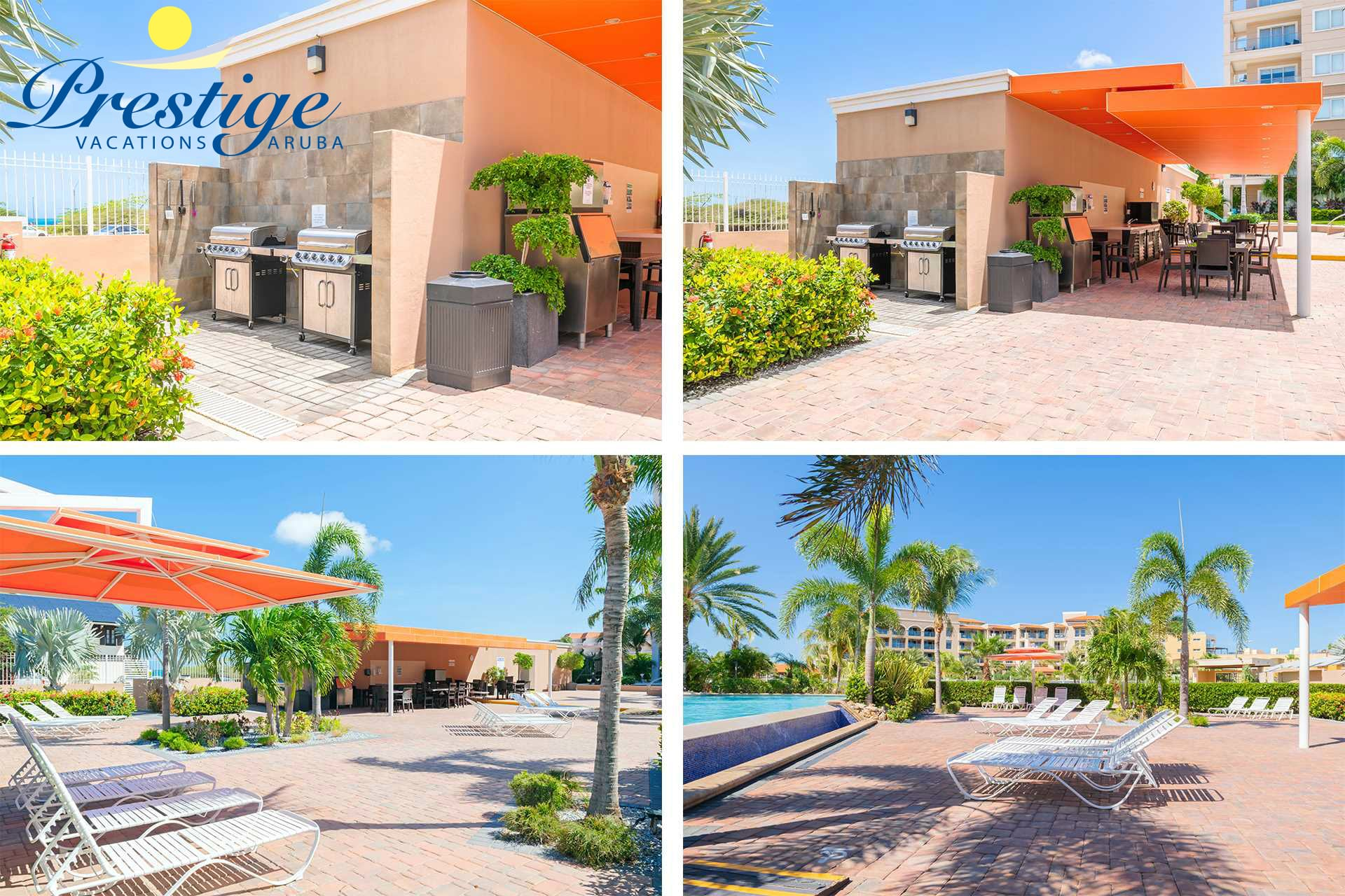 The LeVent Beach Resort Aruba outdoor dining area with 2 BBQ grills (free of charge)