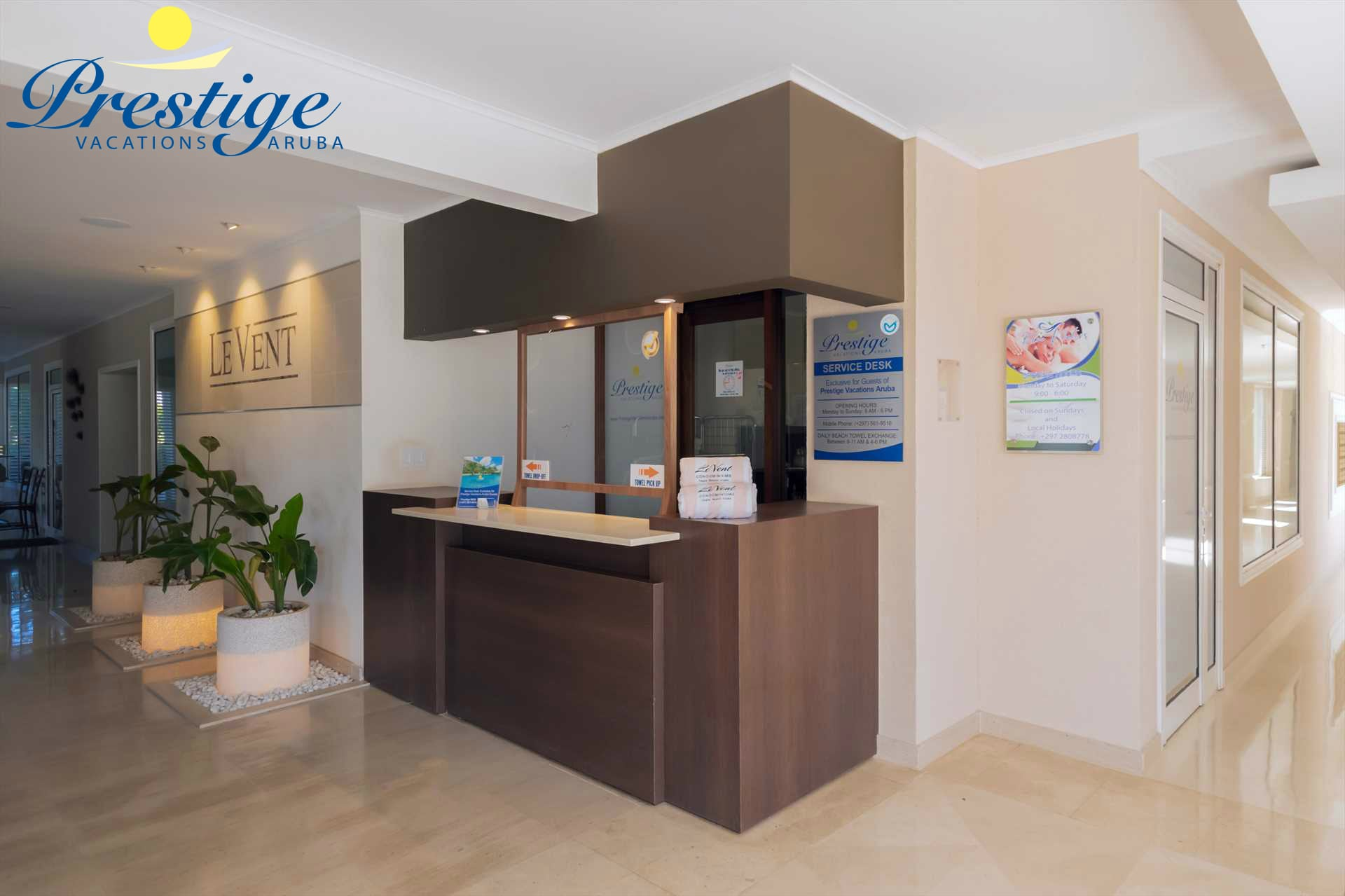 Prestige Vacations Aruba exclusive on-site Service desk in the lobby of the resort