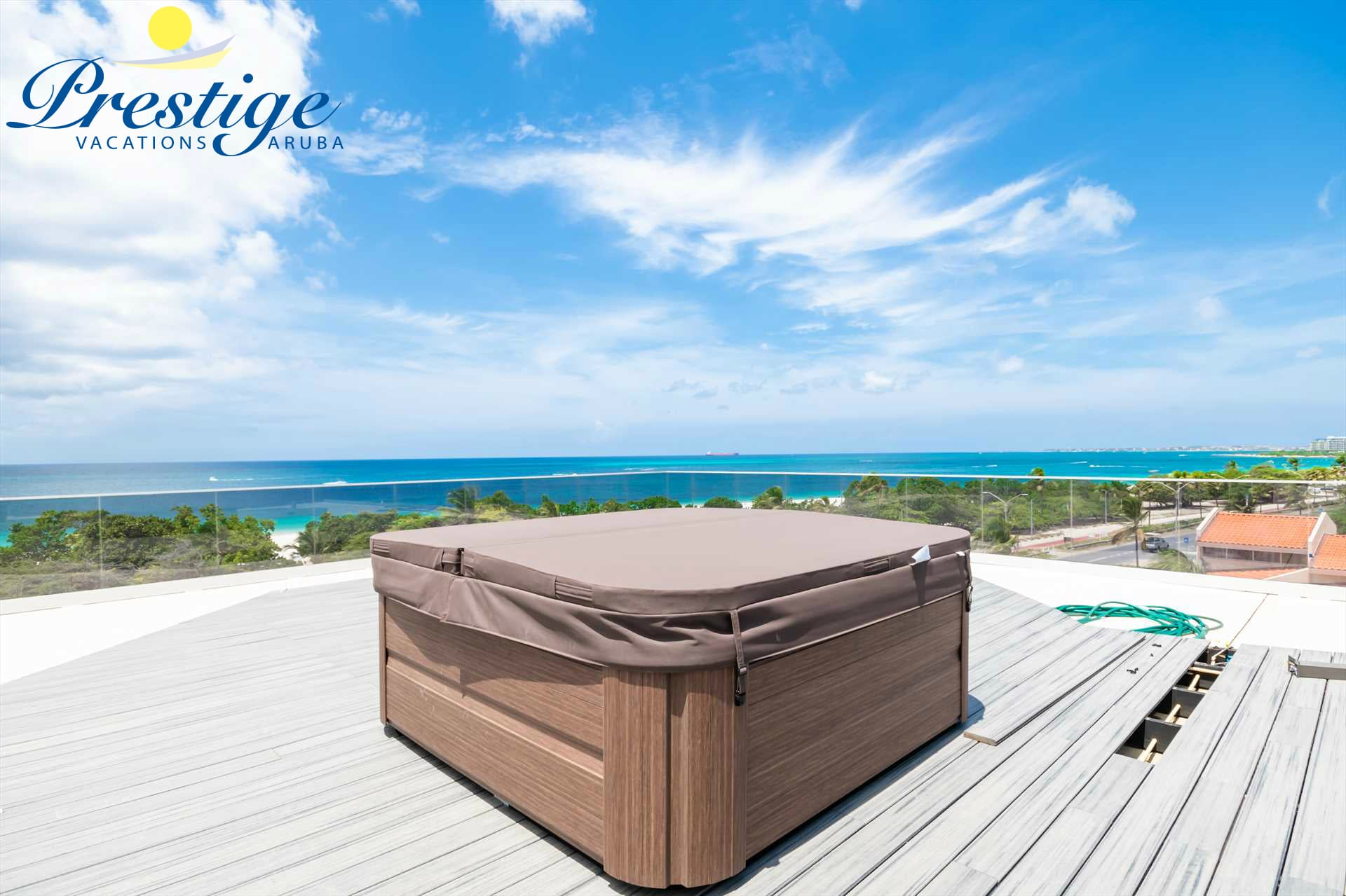 One of the Jacuzzis on the resort rooftop with amazing ocean views (temporary images)