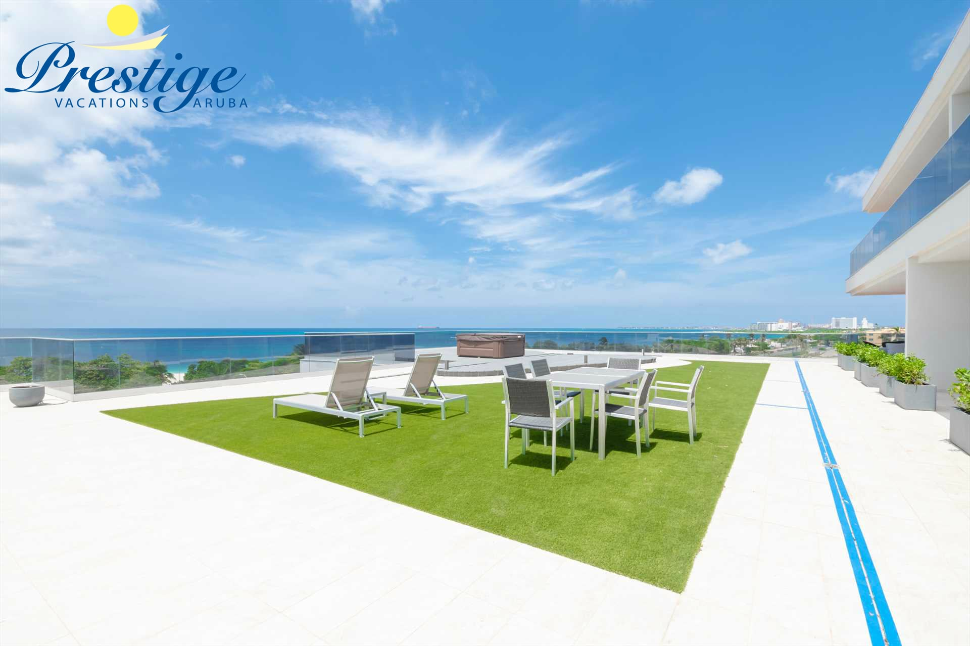 The resort rooftop with outdoor furniture and amazing ocean views (temporary images)