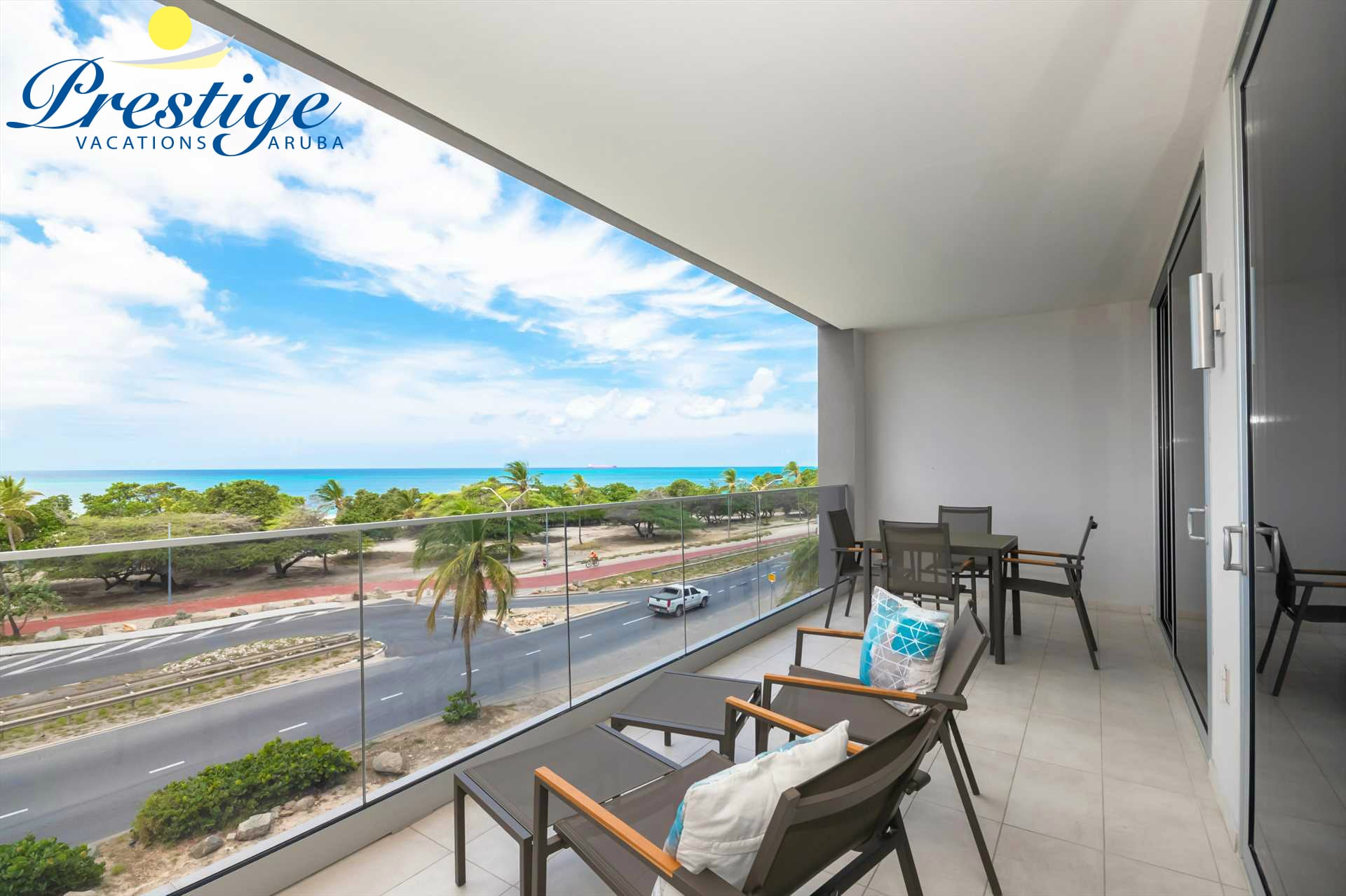 Enjoy Aruba's sunny weather with this amazing beach views from the balcony