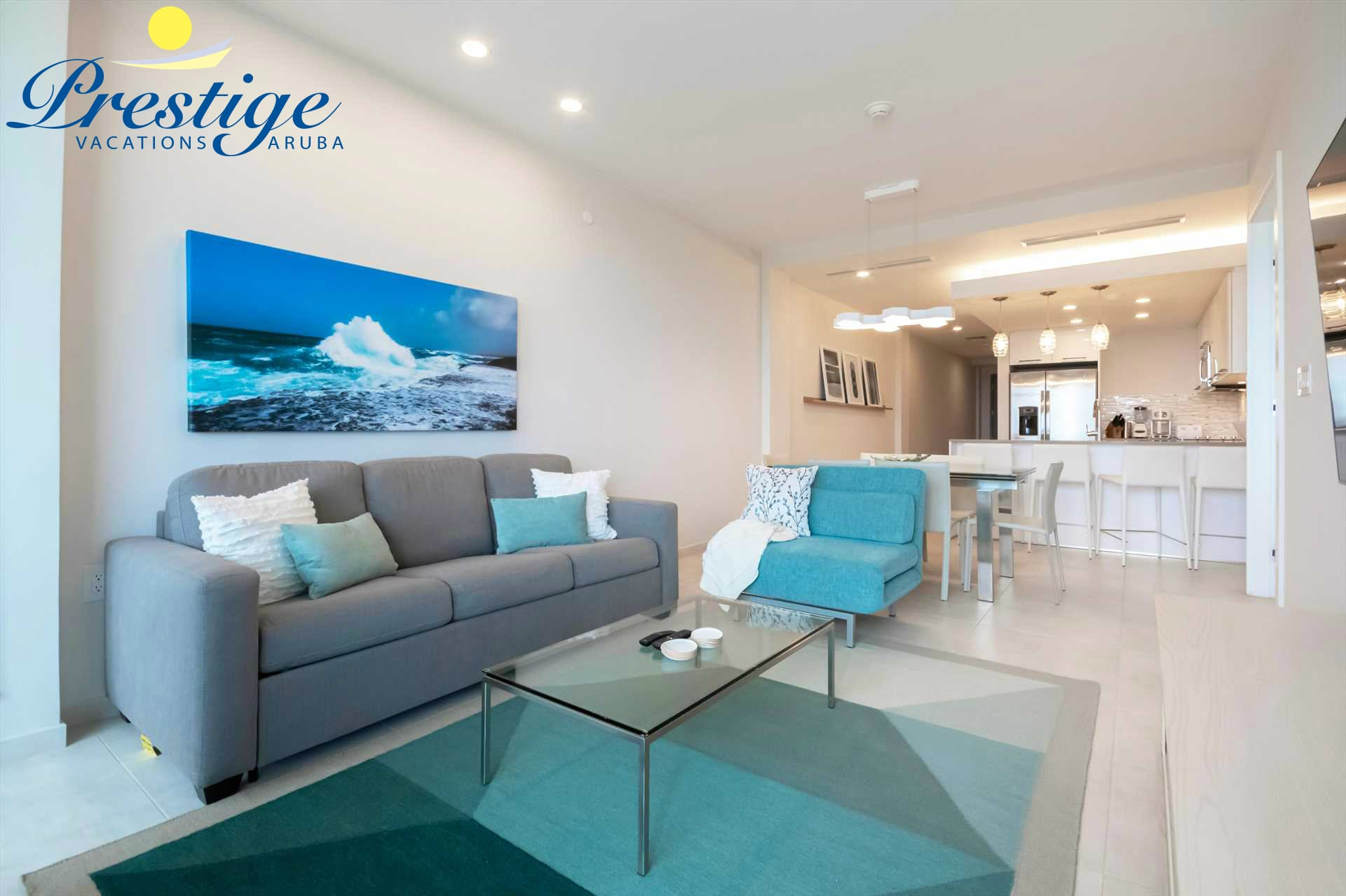Full view of the modern and tastefully furnished living room